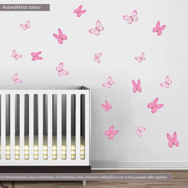 Αυτοκόλλητα τοίχου παιδικά πεταλούδες ροζ
