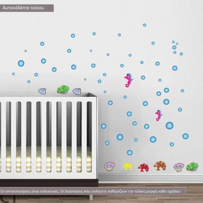 Αυτοκόλλητα τοίχου παιδικά Ιππόκαμπος, κοχύλια, κοράλλια και μπουρμπουλήθρες, Βυθός της θάλασσας