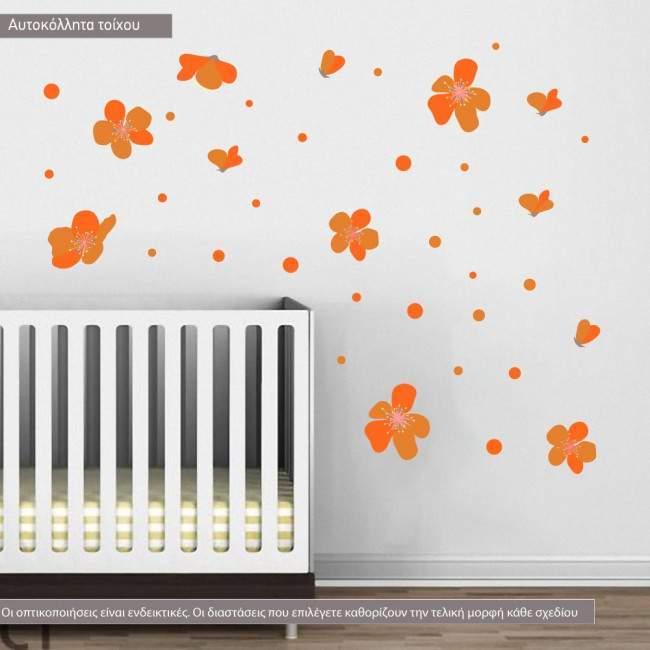 Αυτοκόλλητα τοίχου Πορτοκαλί άνθη