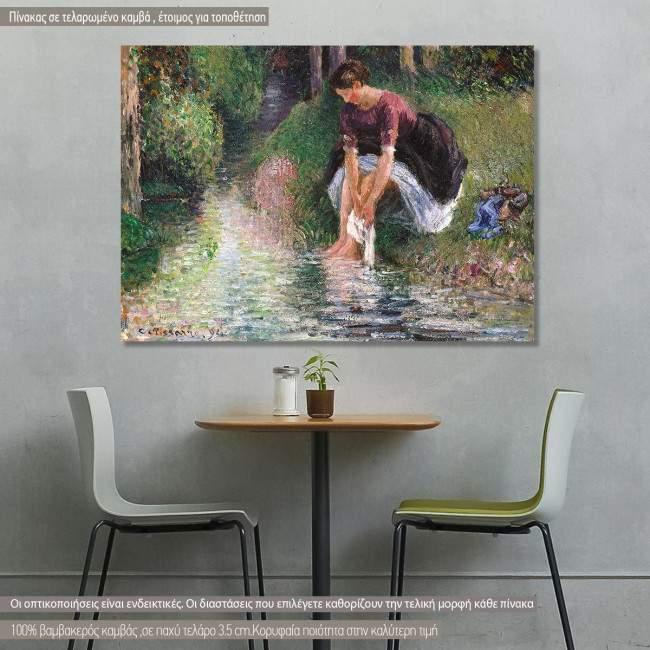 Πίνακας ζωγραφικής Woman washing her feet in a brook, Pissarro C, αντίγραφο σε καμβά
