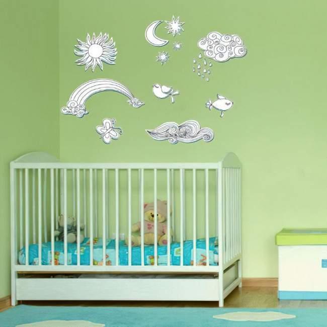 Αυτοκόλλητο τοίχου ήλιος, φεγγάρι, ουράνιο τόξο, σύννεφα και πουλιά, Ρετρό νοσταλγικά σχήματα