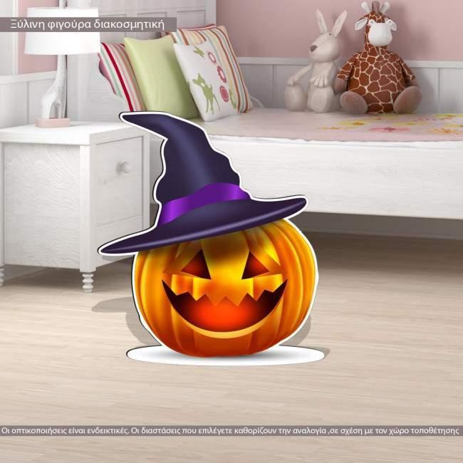 Halloween pumpkin wooden figure printed