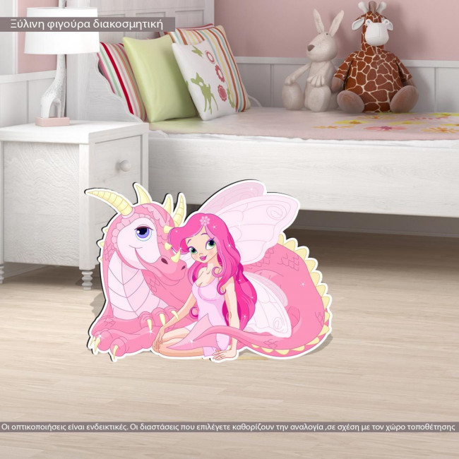 Wooden figure printed Fairy and dragon