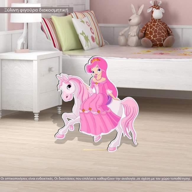 Πριγκίπισσα στο άλογο της ξύλινη φιγούρα εκτυπωμένη
