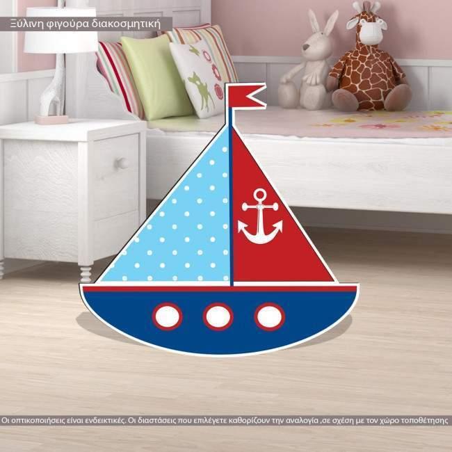 Wooden figure printed Sail ship