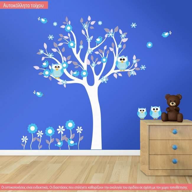 Αυτοκόλλητο τοίχου δέντρο, κουκουβάγιες, λουλούδια και πουλάκια, Happy owls, εναλλακτικά χρώματα 4