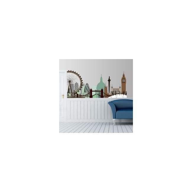 Αυτοκόλλητο τοίχου Λονδίνο, περίγραμμα γήινα χρώματα