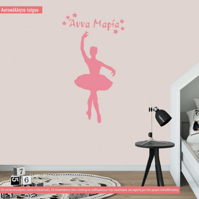 Wall stickers Ballerina name and stars art 2
