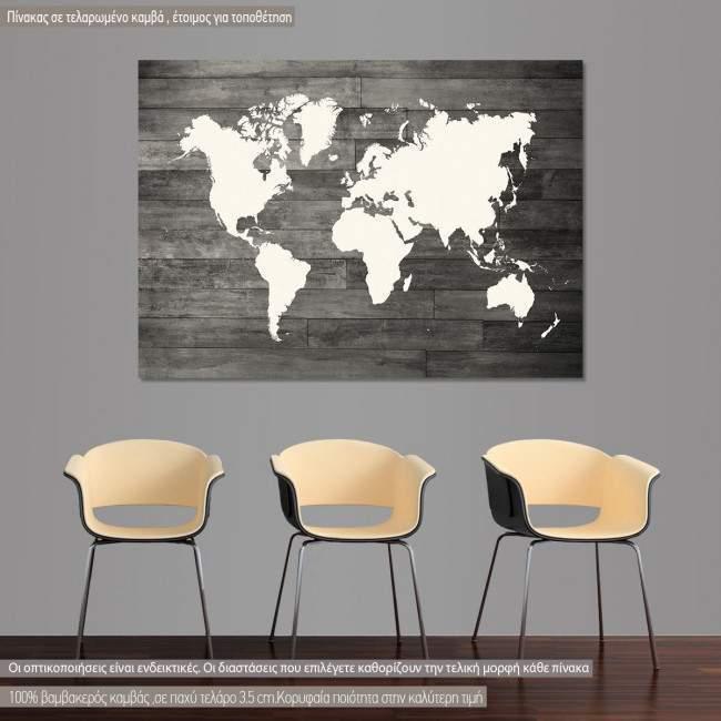 Πίνακας σε καμβά παγκόσμιος χάρτης λευκός, γκρι σανίδες