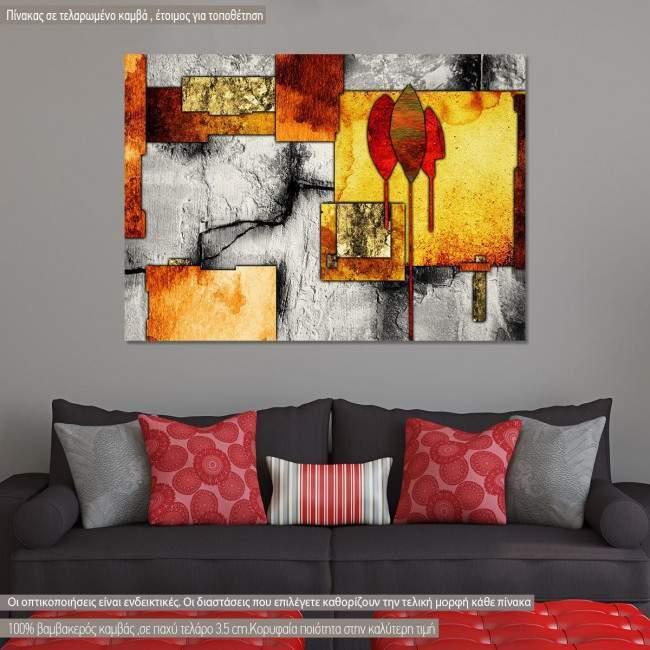 Πίνακας σε καμβά αφηρημένος, γεωμετρικός , Abstract oil painting, three trees