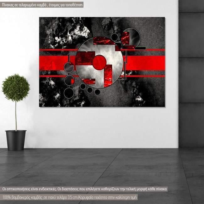 Πίνακας σε καμβά αφηρημένος, γεωμετρικός , Abstract oil painting, red on gray