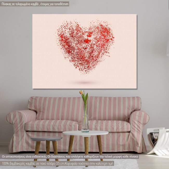 Πίνακας σε καμβά Καρδιά αφηρημένη, Watercolor