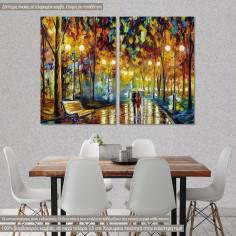 Πίνακας σε καμβά Rain reflections, δίπτυχος