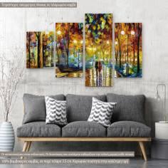 Πίνακας σε καμβά Rain reflections, τετράπτυχος