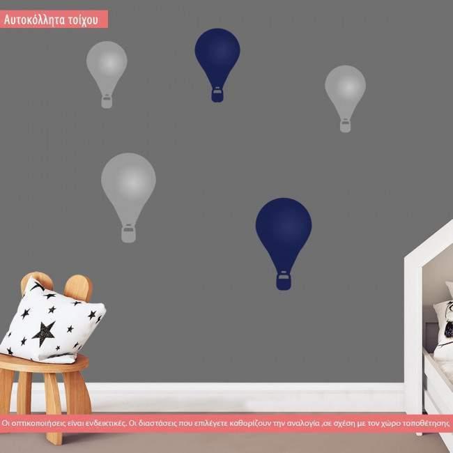 Αυτοκόλλητα τοίχου παιδικά αερόστατα, μονόχρωμα