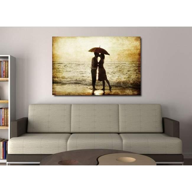 Πίνακας σε καμβά ζευγάρι στην παραλία, The secret kiss