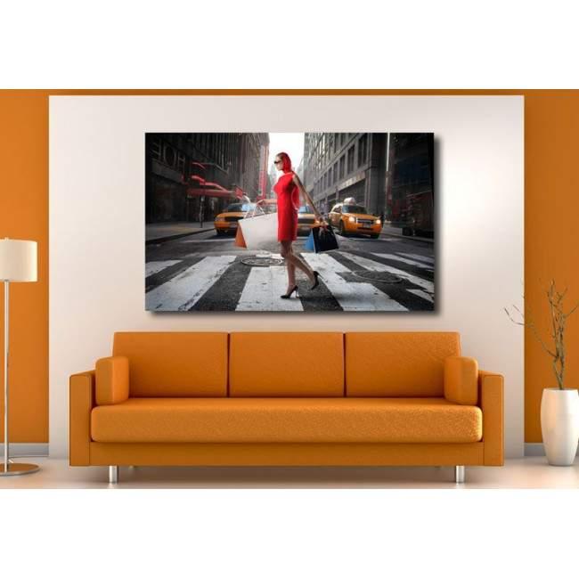 Πίνακας σε καμβά Crossing red