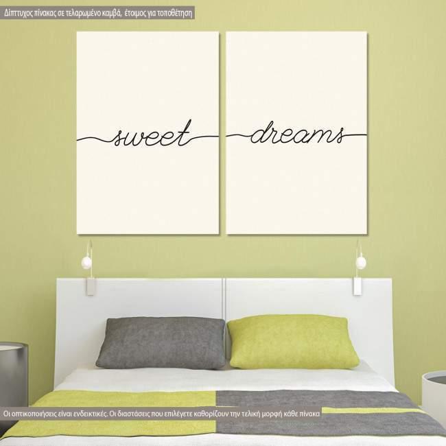 Πίνακας σε καμβά Sweet dreams minimal, δίπτυχος