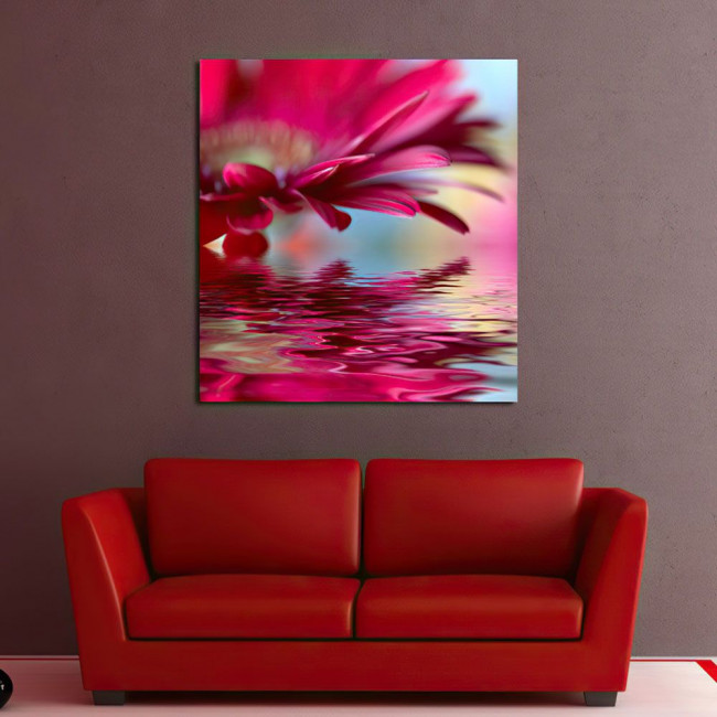 Canvas print Flower reflections (red)