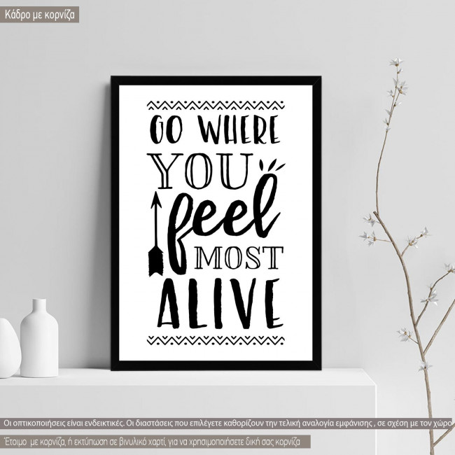 Go where you feel most alive, κορνίζα 1