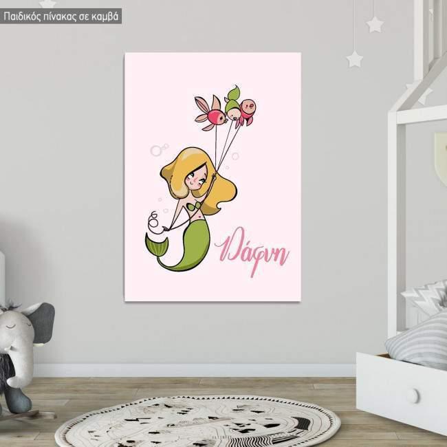 Kids canvas print Mermaid, design V