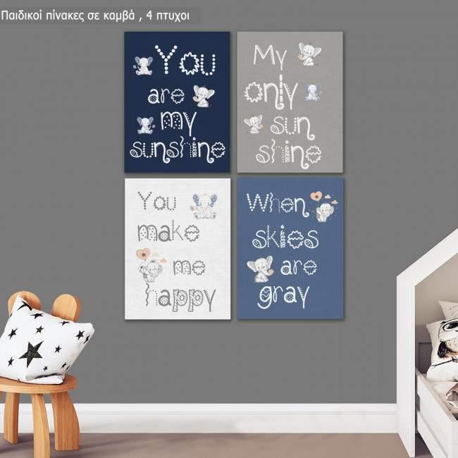 Πίνακας παιδικός σε καμβά You are my sunshine for boys,  με κείμενο και ελεφαντάκια, τετράπτυχος