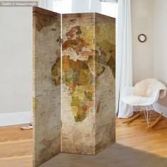 Room divider World map vintage