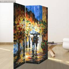 Room divider Couple rain walk