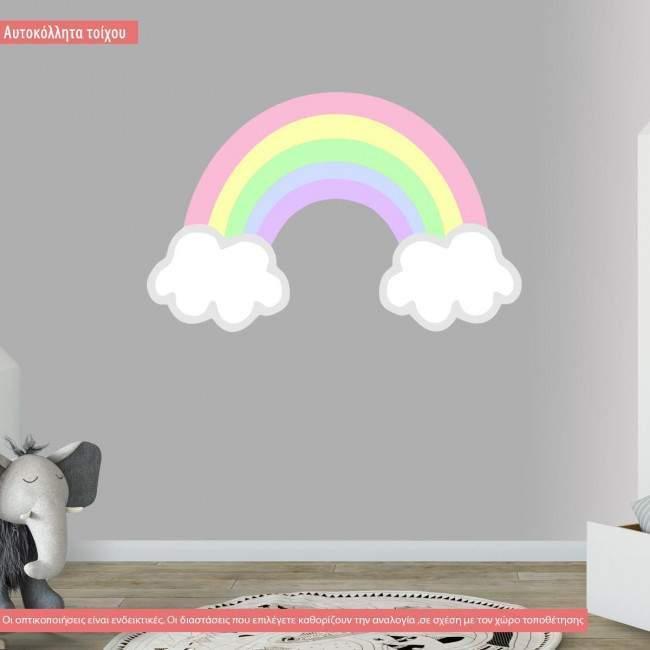 Αυτοκόλλητα τοίχου παιδικά Ουράνιο τόξο, pastel χρώματα