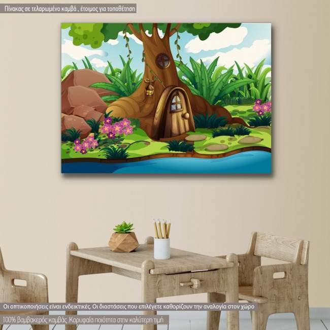 Πίνακας παιδικός σε καμβά Δεντρόσπιτο στο δάσος