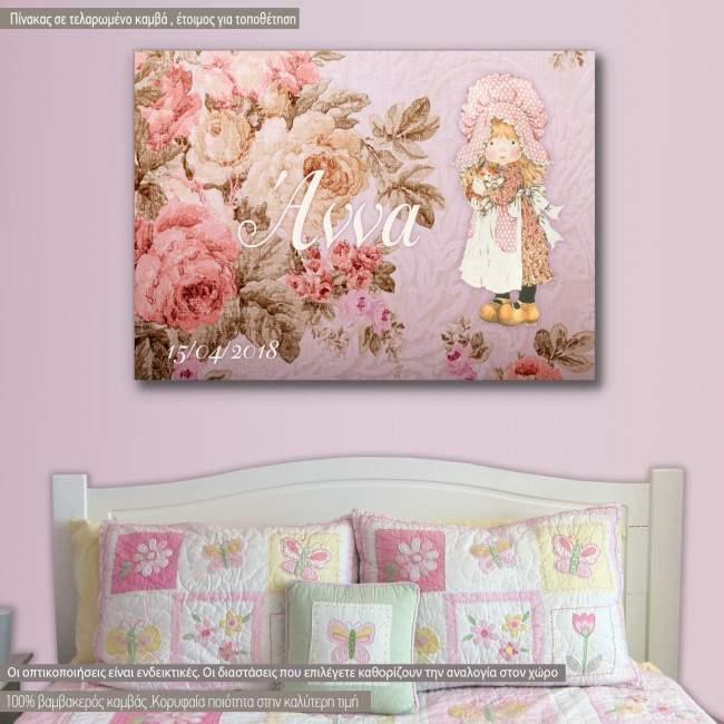 Πίνακας παιδικός σε καμβά Roses and tales II, με όνομα