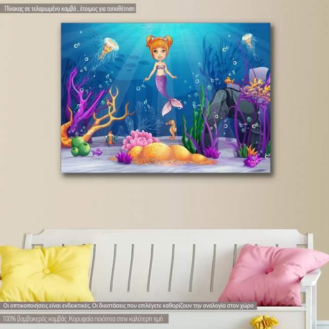 Kids canvas print Mermaid in the sea