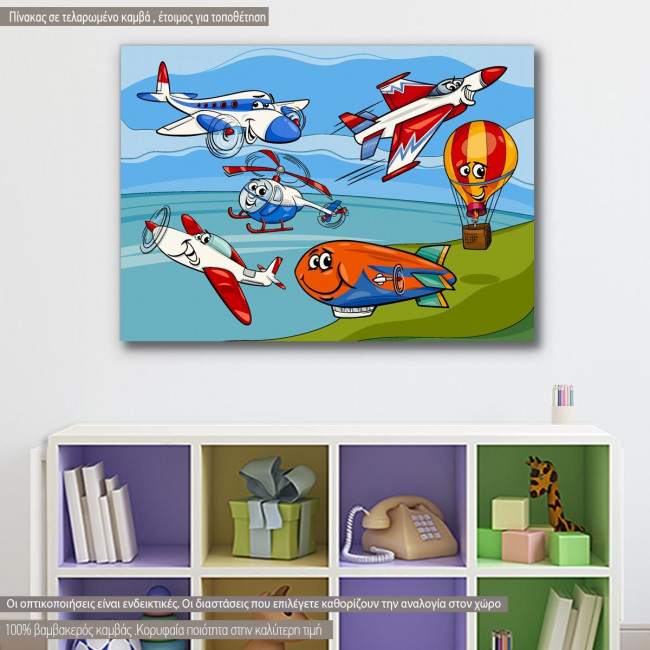 Kids canvas print Funny planes and aircraft