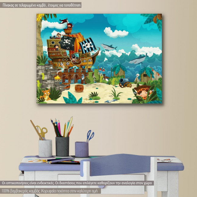 Kids canvas print Pirates on the wild island