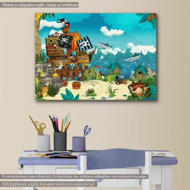 Πίνακας παιδικός σε καμβά Pirates on the wild island