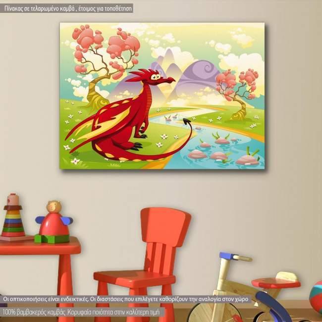 Πίνακας παιδικός σε καμβά Red dragon