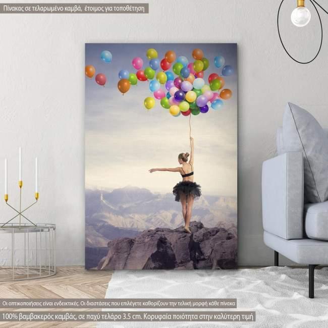 Πίνακας σε καμβά Dancer with balloons