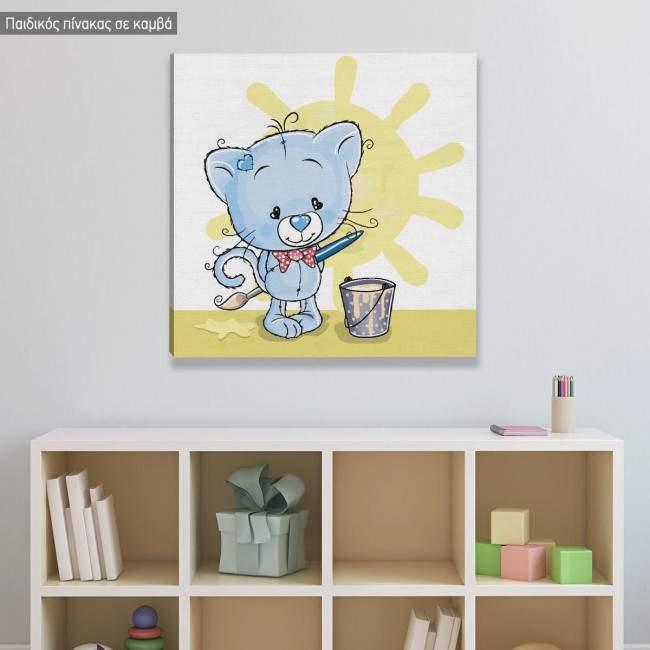 Πίνακας παιδικός σε καμβά Γατάκι καλλιτέχνης