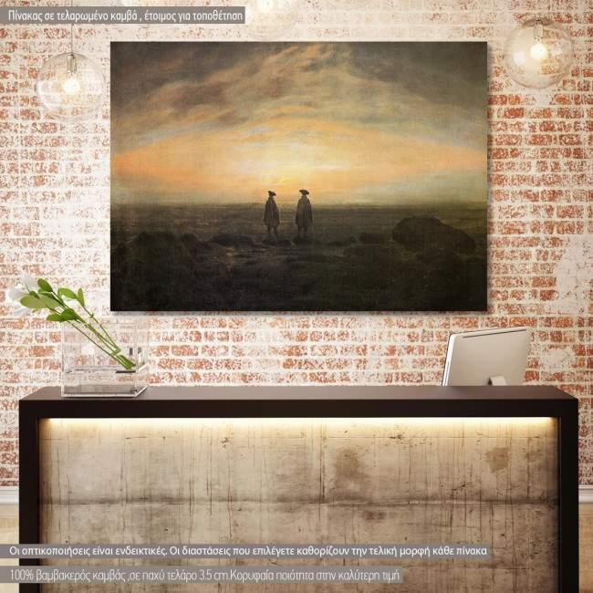 Πίνακας ζωγραφικής  Two men by the sea, Caspar  D. F, cropped αντίγραφο σε καμβά