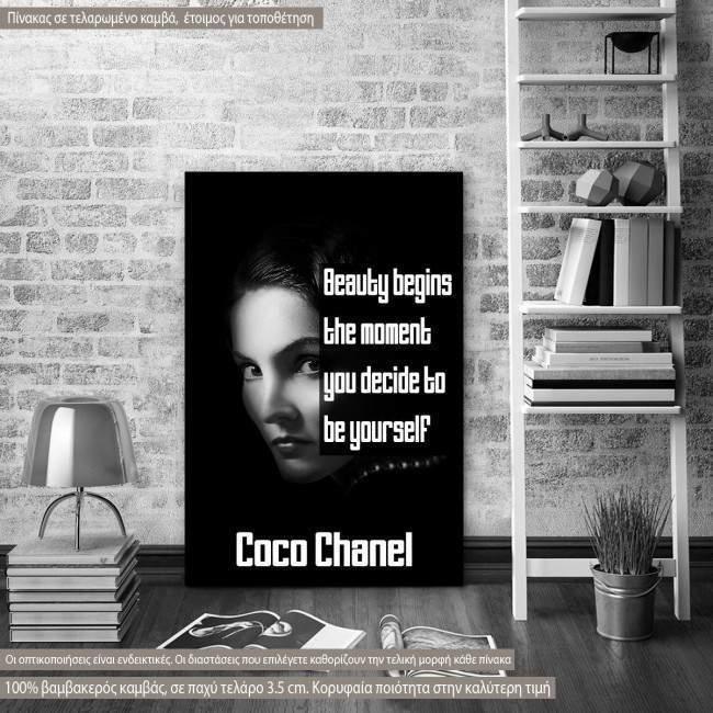 Πίνακας σε καμβά Beauty begins..., Coco Chanel