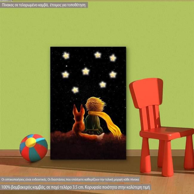 Μικρός πρίγκιπας στο νυχτερινό ουρανό παιδικός - βρεφικός πίνακας σε καμβά