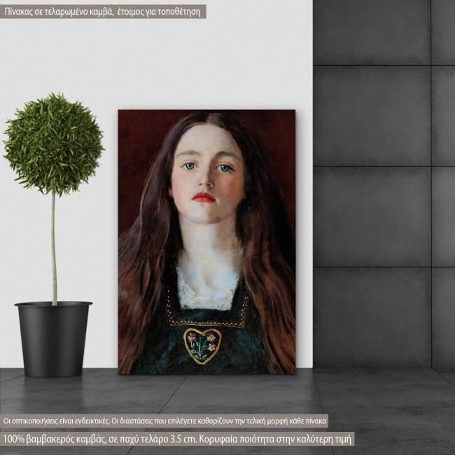 Πίνακας ζωγραφικής Portrait of a girl, Millais J. E, αντίγραφο σε καμβά