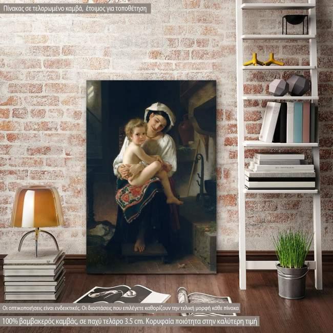 Πίνακας ζωγραφικής Young mother gazing at her child, Bouguereau W. A, αντίγραφο σε καμβά