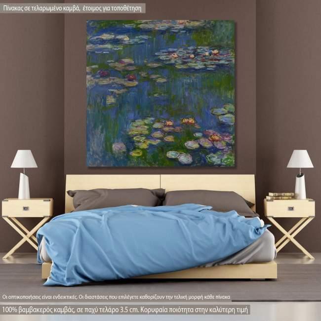 Πίνακας ζωγραφικής Water lilies art III, Monet C, αντίγραφο σε καμβά