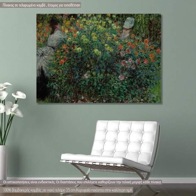 Πίνακας ζωγραφικής Two women among the flowers, Monet C, αντίγραφο σε καμβά
