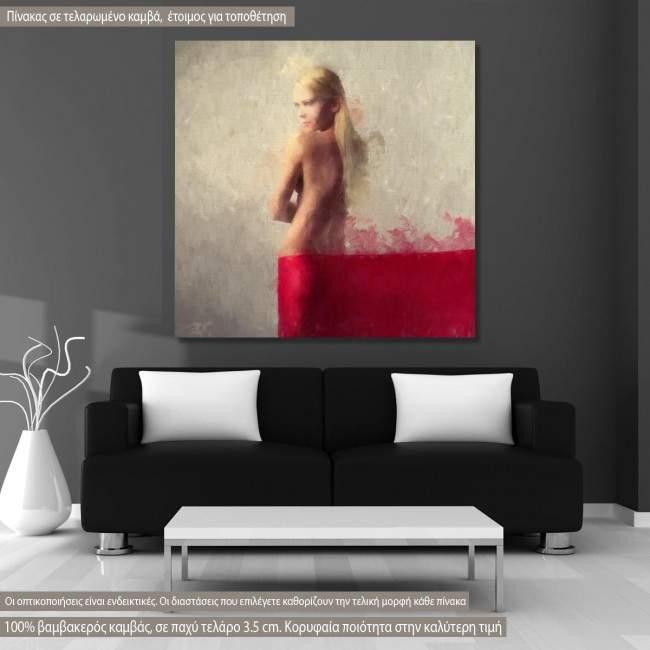 Πίνακας σε καμβά Blonde beauty in red