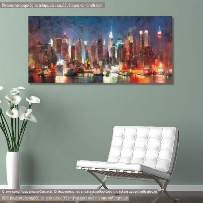 Πίνακας σε καμβά Manhattan skyline painting, πανοραμικός