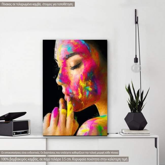 Πίνακας σε καμβά Colorful painted face