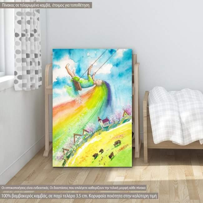 Πίνακας σε καμβά Girl on swing