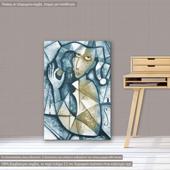 Expressive oil painting with woman figure canvas print